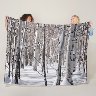 Aspens Trunks & Snow Blend Photograph Fleece Blanket