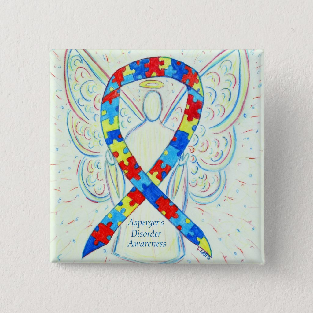 Asperger's Disorder Angel Puzzle Ribbon Pins