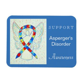 Asperger's Disorder Awareness Ribbon Angel Magnet