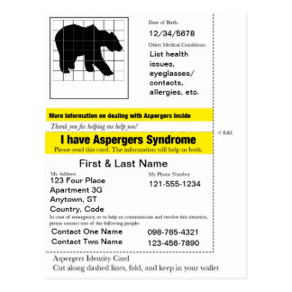 Aspergers Emergency Card Postcard