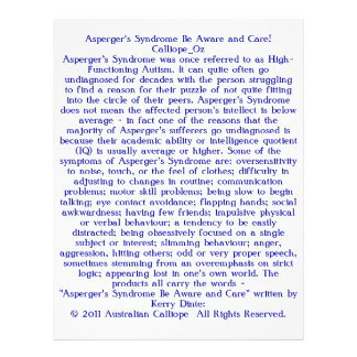 """Asperger's Syndrome Be Aware and Care! 8.5"""" X 11"""" Flyer"""