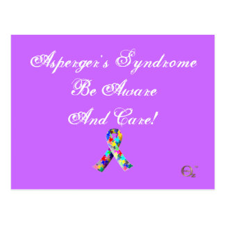 Asperger's Syndrome Be Aware And Care! Postcards