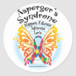 Asperger's Syndrome Butterfly 3 Round Stickers