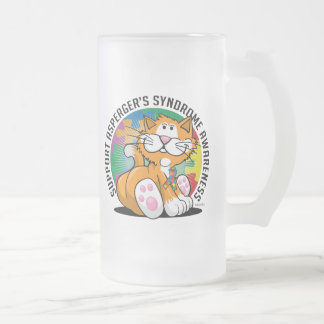 Asperger's Syndrome Cat Frosted Glass Beer Mug