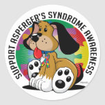 Asperger's Syndrome Dog Round Stickers