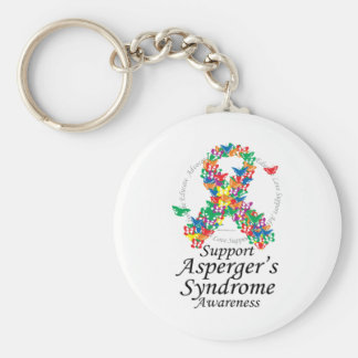 Asperger's Syndrome Ribbon of Butterflies Basic Round Button Keychain