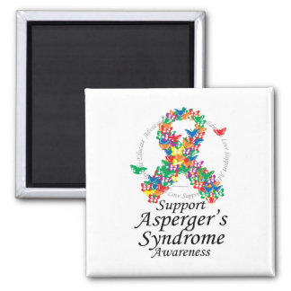 Asperger's Syndrome Ribbon of Butterflies 2 Inch Square Magnet