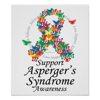 Asperger's Syndrome Ribbon of Butterflies Poster