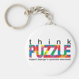 Asperger's Syndrome Think PUZZLE Basic Round Button Keychain
