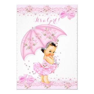 """Asperje el paraguas rosado floral del chica de la invitación 5"""" x 7"""""""