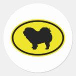 Áspero-Capa del perro chino de perro chino Etiqueta Redonda