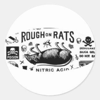 Áspero en ratas pegatina redonda