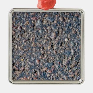 Asphalt and pebbles texture metal ornament