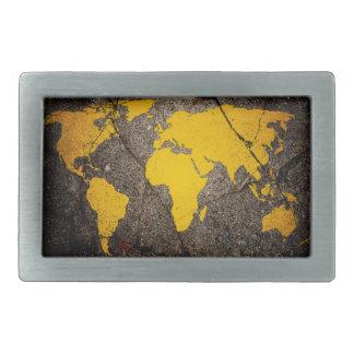 Asphalt Paint Map Belt Buckle