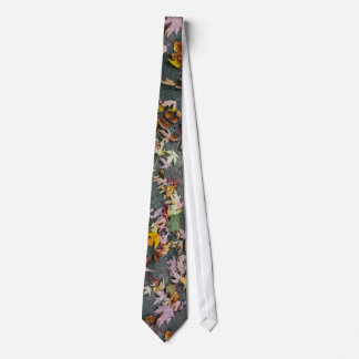 Asphalt Themed, Red, Yellow, Gold, And Green Leave Neck Tie