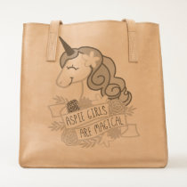 Aspie Girls Are Magical Unicorn leather tote