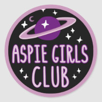 Aspie Girls Club (space logo) Classic Round Sticker
