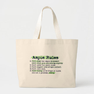 """Aspie Rules"" Canvas Totebag Large Tote Bag"