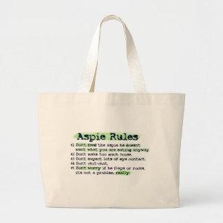 """Aspie Rules"" Canvas Totebag Large Tote Bag"