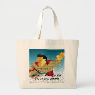 "Aspie to save the day  ""Autism Awareness"" Large Tote Bag"