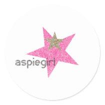 Aspiegirl Woman with Aspergers Classic Round Sticker