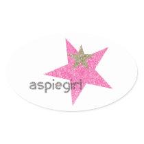 Aspiegirl Woman with Aspergers Oval Sticker