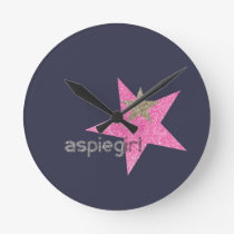 Aspiegirl Woman with Aspergers Round Clock