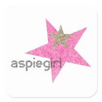 Aspiegirl Woman with Aspergers Square Sticker