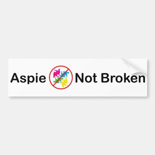 AspieNotBroken.com Bumper Sticker Car Bumper Sticker