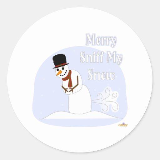 Aspiración el Farting del muñeco de nieve feliz mi Pegatina Redonda