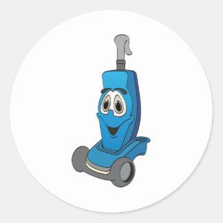 Aspirador azul pegatina redonda