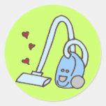 Aspirador con los corazones etiquetas redondas