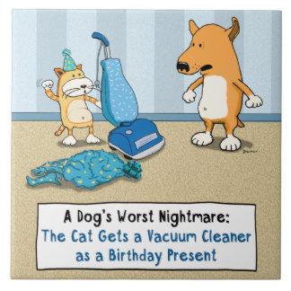 Aspirador divertido del gato y del perro azulejo cuadrado grande
