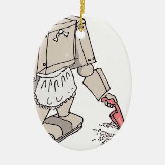 Aspirador robótico adorno navideño ovalado de cerámica