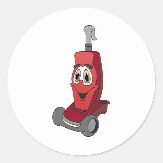 Aspirador rojo pegatina redonda