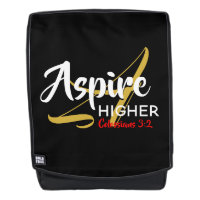 ASPIRE HIGHER Inspirational Christian Black Backpack