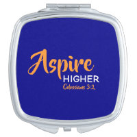 ASPIRE HIGHER Inspirational Christian Blue Compact Mirror