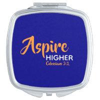 ASPIRE HIGHER Inspirational Christian Blue Compact Mirror
