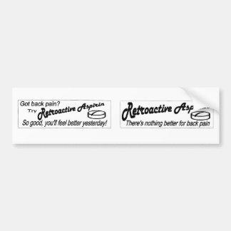 Aspirin retroactivo etiqueta de parachoque