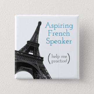 Aspiring French Speaker   Cute Eiffel Tower Pinback Button