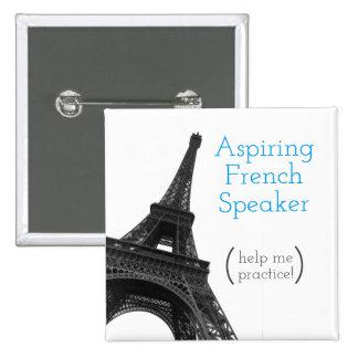 Aspiring French Speaker | Cute Eiffel Tower Pinback Button