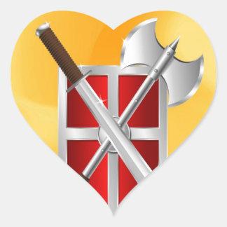assassin Shield Axe sward Heart Sticker