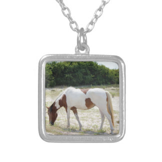 Assateague Island horse Silver Plated Necklace