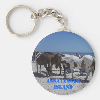 Assateague Island Ponies Basic Round Button Keychain