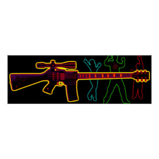 Assault Guitar Blacklight Print