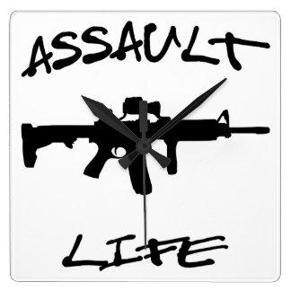 Assault Life Assault Weapon © WhiteTigerLLC.com Square Wall Clock