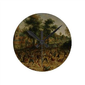 Assault on a Town (oil on canvas) Wallclocks