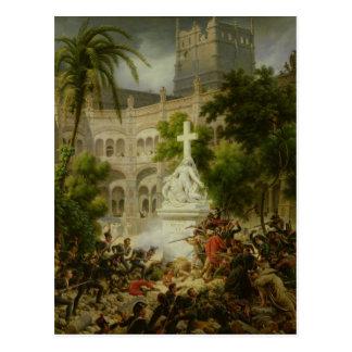 Assault on Monastery of San Engracio in Postcard
