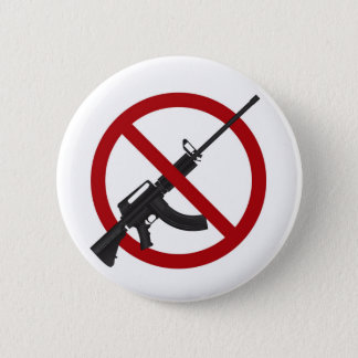 Assault Rifle AR15 Gun Ban Symbol Button