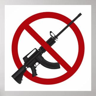 Assault Rifle AR15 Gun Ban Symbol Poster